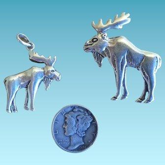 Vintage Navajo Sterling Silver Moose Pin and Bracelet Charm by Glenn and Irene Sandoval 1970s