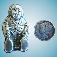 Navajo Vintage Sterling Silver STORYTELLER Pin Glen and Irene Sandoval Brooch