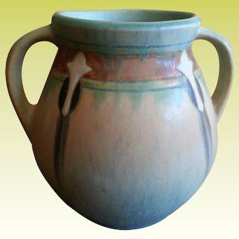 Roseville Blue Green Monticello Two Handled Arts and Crafts 1931 Pot