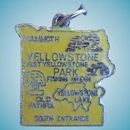 Vintage 1960s Cloisonne enamel Yellowstone Bracelet Charm Map of National Park
