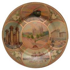 Antique 1911 Salt Lake City Tin Souvenir Scenic Art Plate Mormon Temple Salt Air