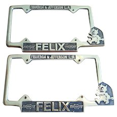 Pair of Felix Chevy Chevrolet Dealership License Plate Frames