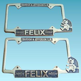Pair of Felix Chevy Chevrolet Dealership License Plate Frames