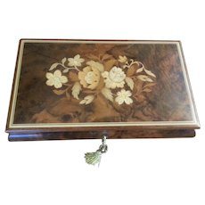 Vintage Italian Inlaid Wood Marquetry Music Jewel Box w Key