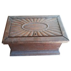 Mid 19th Century Carved Wooden Jewelry or keepsake box Sunburst Lid
