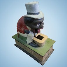 Rare Antique German Eater Toy Black Americana Circa 1880 Paper Mache & Wood