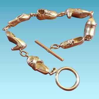 14K Gold Bracelet 7 Shoe Charms JCM High Heel Clog Sandal slipper Tennis 14grams