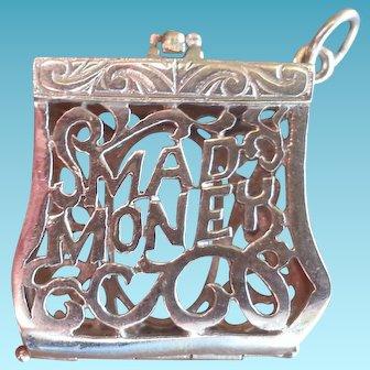 10 K Gold Movable Bracelet Charm Mad Money Purse Pendent