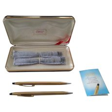 CROSS Ballpoint Pen & Mechanical Pencil Set Original Case 14K gold filled