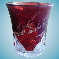 Salt Lake City Utah 1903 Carnival Ruby Glass Cut to Clear Tumbler Howell