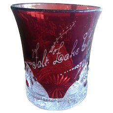 Salt Lake City Utah 1903 Carnival Ruby Glass Cut to Clear Tumbler Howell