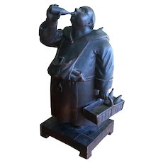 Black Forest Hand Carved Wood Monk Friar Tobacco Cigar Humidor Box