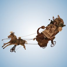 Antique German doll / mechanical musical pull toy / sleigh - circa 1890