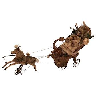 Antique German doll / mechanical musical pull toy / sleigh - circa 1890