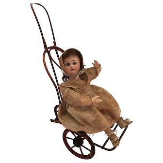 "13 1/2 "" Antique German Mechanical Toy Bisque Head Girl on Bent Wood"