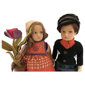 "14"" Antique Pair of Dutch Lenci Boy and Girl - All Original"