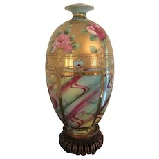 12.5 Inch Nippon Porcelain Vase with Stand