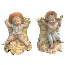 5 Inch Antique Petite Porcelain Vase Set of Boy and Girl