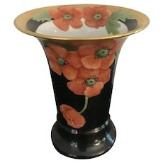 6.5 Inch Bavarian Moschendorf Hand Painted Floral Vase with Poppies ca1933-Excellent Condition