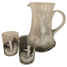 9 Inch Antique Mouth Blown Mary Gregory Pitcher and Two Glasses