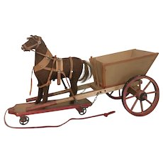 Antique Stamped German Horse and Buggy Pull Toy