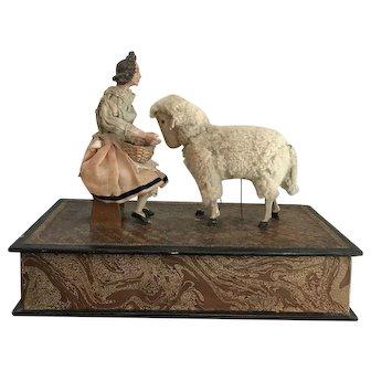 "13.75"" Antique Early German Crank Mechanical Girl Feeding Sheep Music Box ca1860"