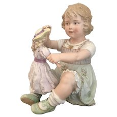 """9.5"""" Antique Very Rare Heubach Figurine Little Girl with Doll-Mint Condition"""