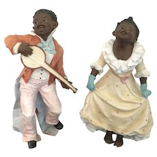 "9"" Antique Gebrüder Heubach Bisque Figurines Set of 2-Boy and Girl"