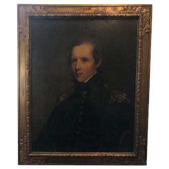 """33.5"""" Antique Duplicate Portrait of Major John Biddle Originally Painted by Thomas Sully"""