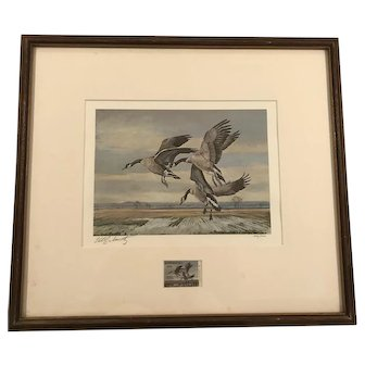 Framed Canada Geese Signed Print by Charles Schwartz with Matching Duck Stamp ca1979-Rare