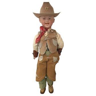 "18"" Antique Grinning Heubach Cowboy Doll"