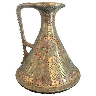 """7"""" Antique Nippon Gold Ewer Vase"""