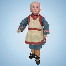 "13 3/4"" German ""Pouty"" Heubach Doll with Socket Head & Molded and Painted Hair"