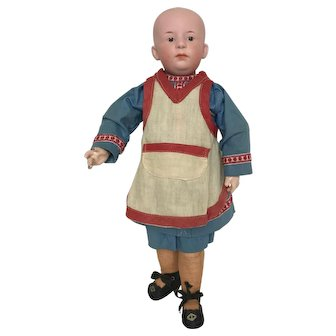 """13 3/4"""" German """"Pouty"""" Heubach Doll with Socket Head & Molded and Painted Hair"""