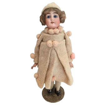 """12.75"""" Antique German Bisque Head Candy Container Doll - Mint Condition, All Original"""