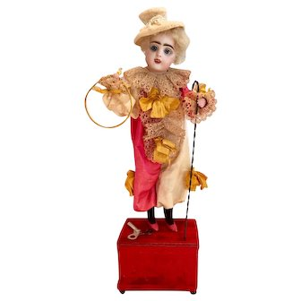 "17.5"" Antique French Francois Gaultier Circus Clown Mechanical c. Late 1800s"