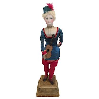 """21.5"""" Francois Gaultier Mechanical Doll That Plays Guitar c. Late 1800's"""