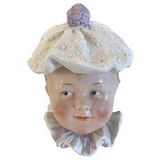 Heubach Character Boy -  Bisque Candy Container  Circa 1910
