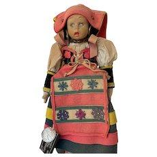 "9 "" All Original Antique Lenci felt doll- Mascotte - Two Tags - circa 1919-2001"