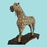 "22"" Beautiful Antique Folk Art Era Horse on Wheels Pull Toy - Dated 1917 and All Original"