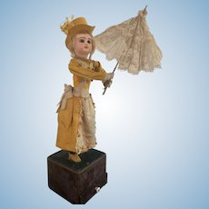 "18"" Mechanical French Jumeau Doll with Lace Umbrella - All Original and Mint Condition"