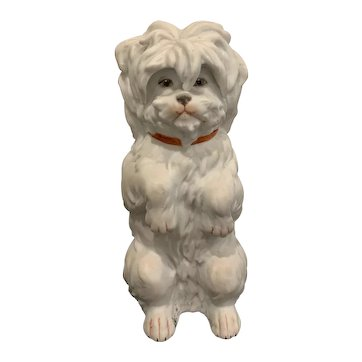 "6"" Antique Gebruder Porcelain Heubach Begging Maltese Dog Figurine - Mint Condition"