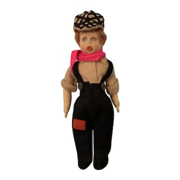 "9"" Lenci Italian Cloth Character Doll as Jackie Coogan with Cigar"