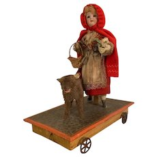 """13"""" Antique Red Riding Hood and The Wolf Pull Toy Mechanical - All Original"""