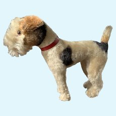 "11"" Tall, 14"" Long Mohair Wire Haired Terrier With Button ca. 1950's."