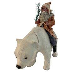 German Polar Bear Candy Container with riding Santa Circa 1910