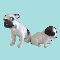 Antique German Heubach bisque dog figurine duo Unmarked - Circa Mid 1800's