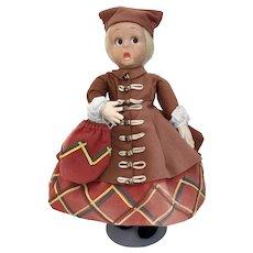 Old Italian Felt Glass - Eyed Googly as  Scottish Girl by Lenci - Mint