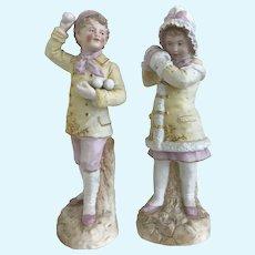 "Pair of Large 13""  German Bisque Boy & Girl in Snow Ball Toss- Gebruder Heubach- Circa 1890"