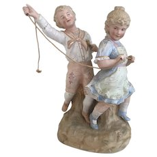Large Early 2 Figure Gebruder Heubach bisque boy & girl playing Horsie- Rare